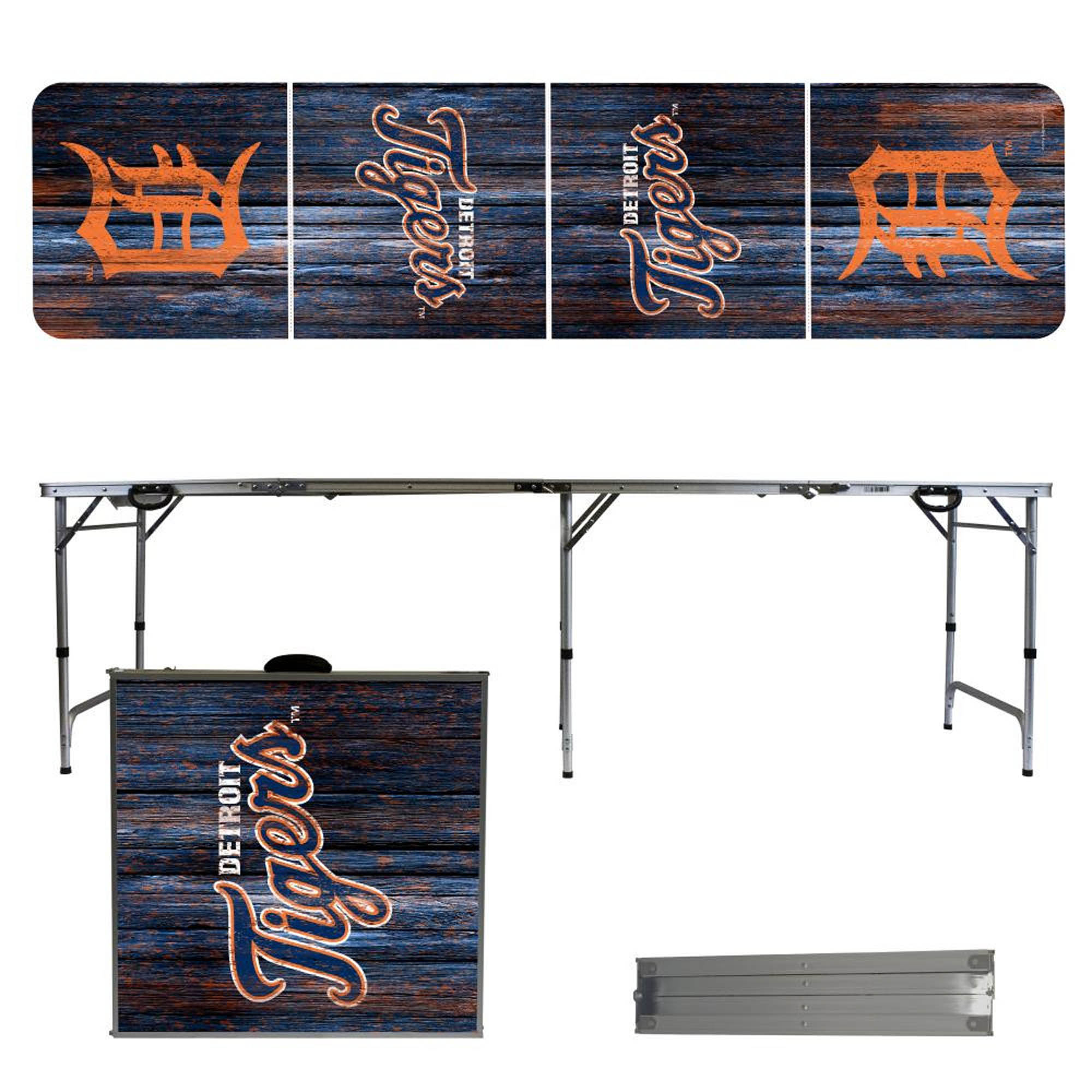 Detroit Tigers Weathered Design 8' Portable Folding Tailgate Table - No Size