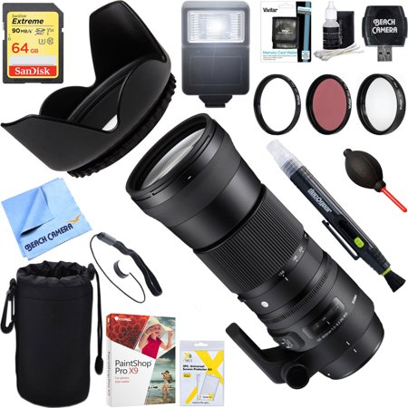 Sigma (745-101) 150-600mm F5-6.3 DG OS HSM Zoom Lens Contemporary for Canon DSLR Cameras + 64GB Ultimate Filter & Flash Photography