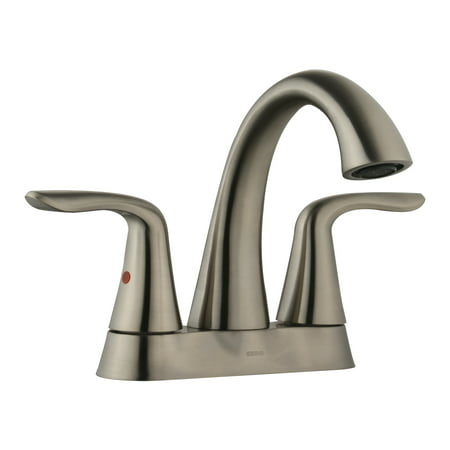 Keewi Bathroom Faucet Brushed Nickel Two Handle, Bathroom Faucet Centerset All Brass with Modern Style, Brushed Nickel PVD