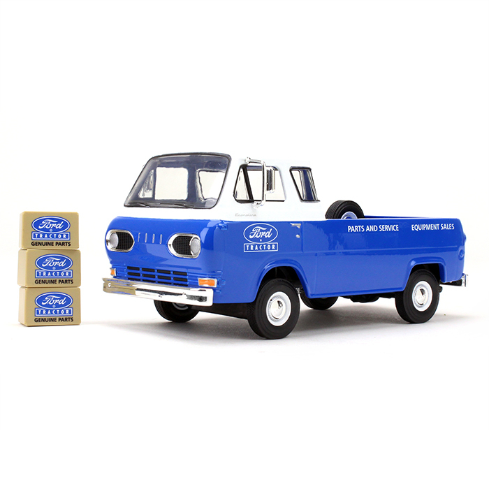 1960's Ford Econoline Pickup Blue with Boxes Ford Tractor Parts & Service 1 25 Diecast... by First Gear