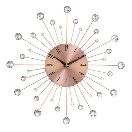 Decmode Modern 15 Inch Copper Iron Wall Clock With Crystal Accents ()