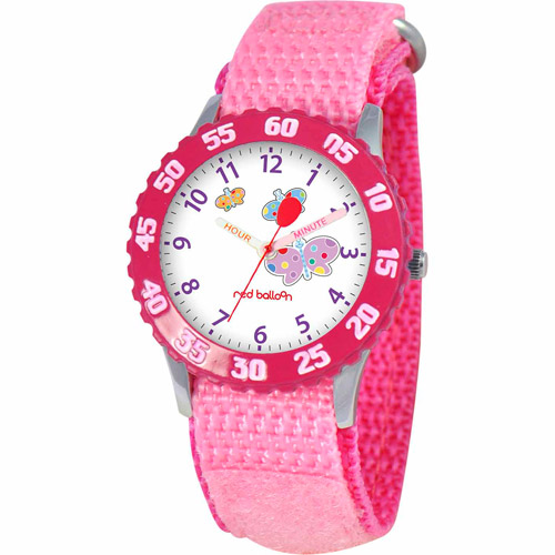 Red Balloon Butterfly Girls'  Stainless Steel Watch, Pink Strap