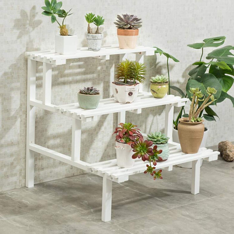 Magshion 3 Tier White Wood Planter Stand Garden Shelf Stand Corner Shelf Rack Standard