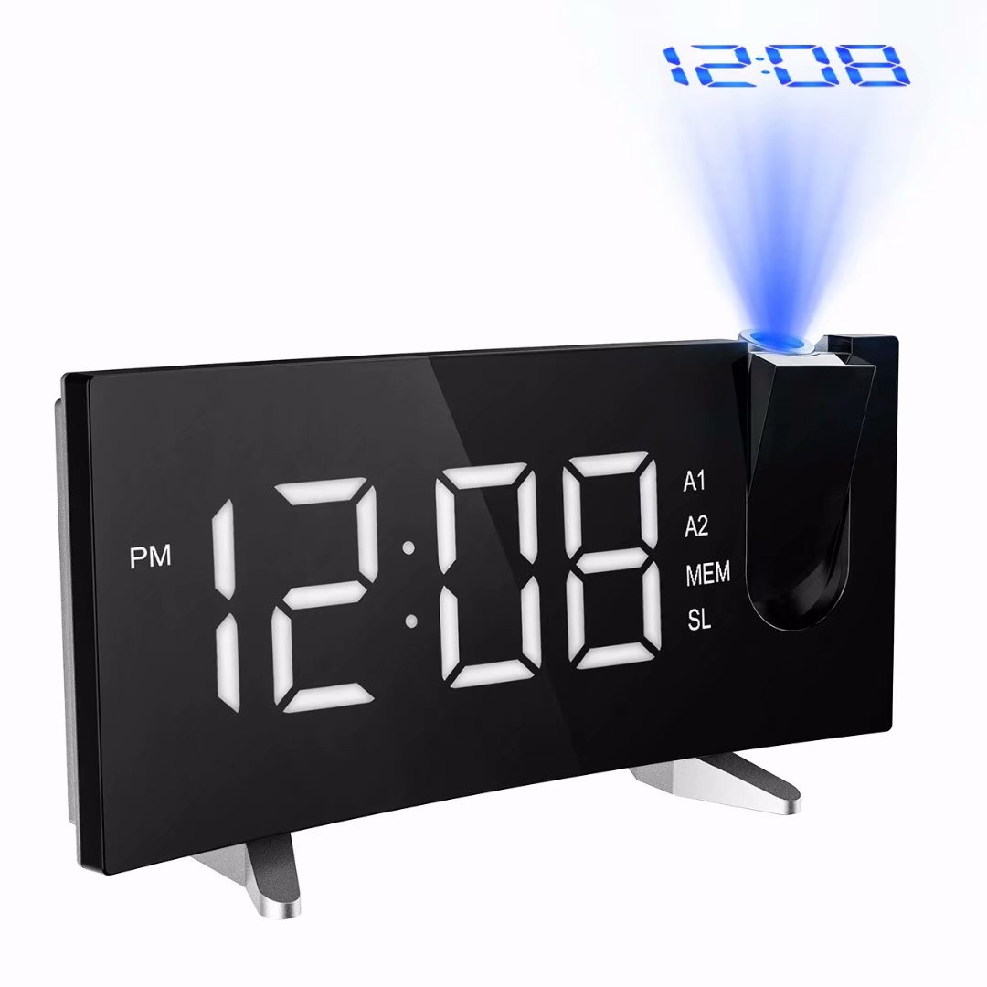"""VicTsing Projection Alarm Clock, [Curved-Screen] Projection Clock, Digital FM Clock Radio with Dual Alarms, 5"""" LED... by"""