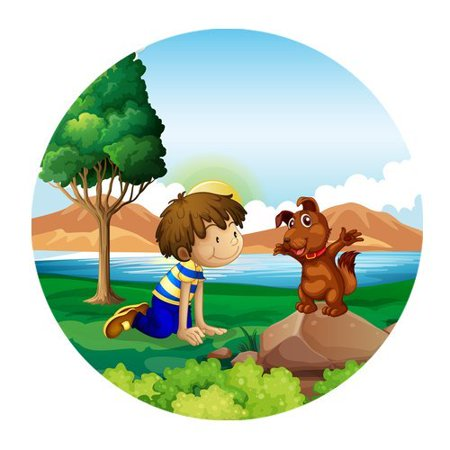 MKHERT A Young Boy And His Pet Near The Lake Round Mousepad Mat For Mouse Mice Size 7.87x7.87 inches