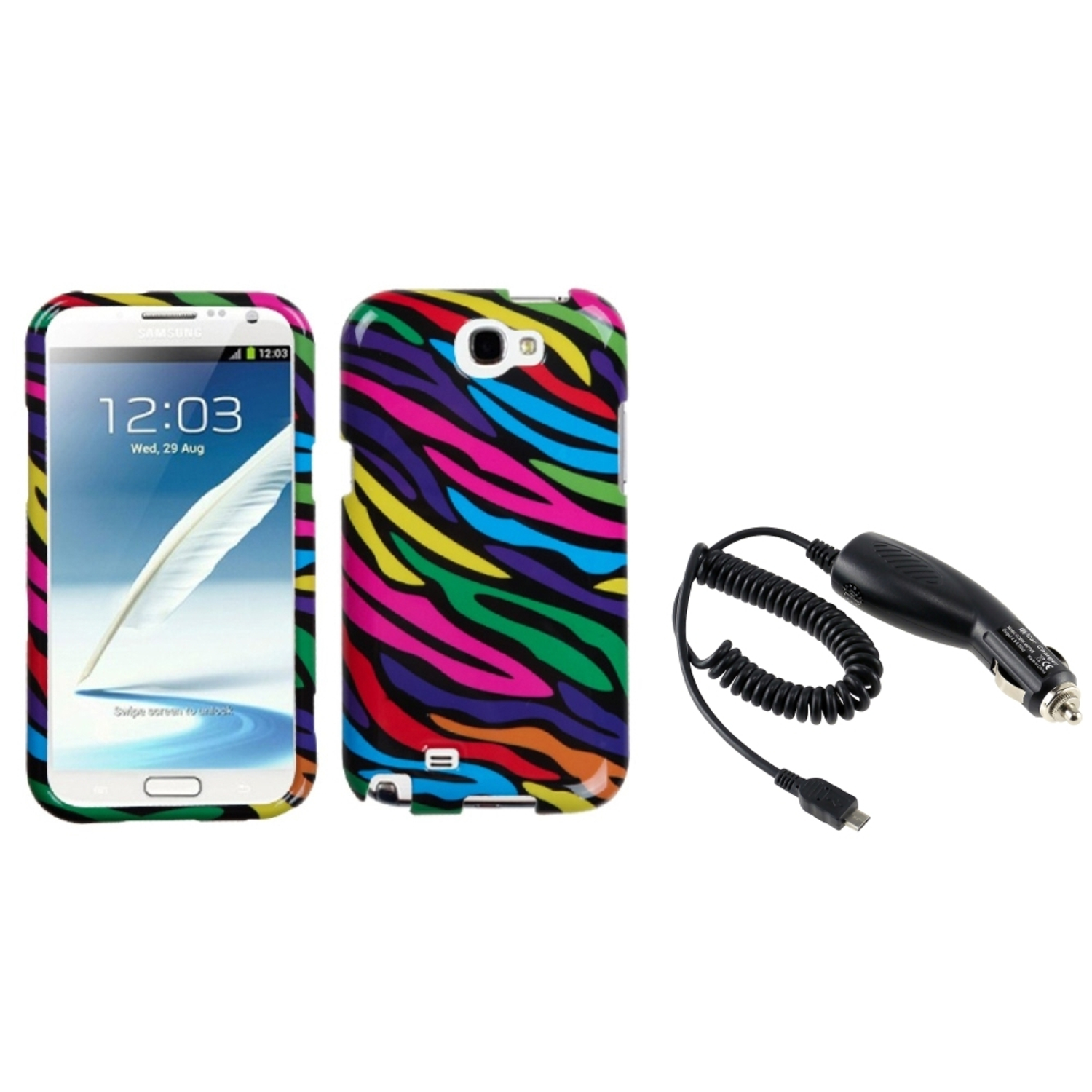 Insten Neon Zebra Hard Case+DC In Car Charger For Samsung Galaxy Note 2 II