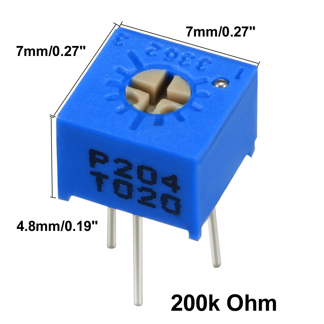Resistors 200k Ohm Top Adjustment Horizontal Cermet Potentiometer 20 Pcs - image 2 de 6