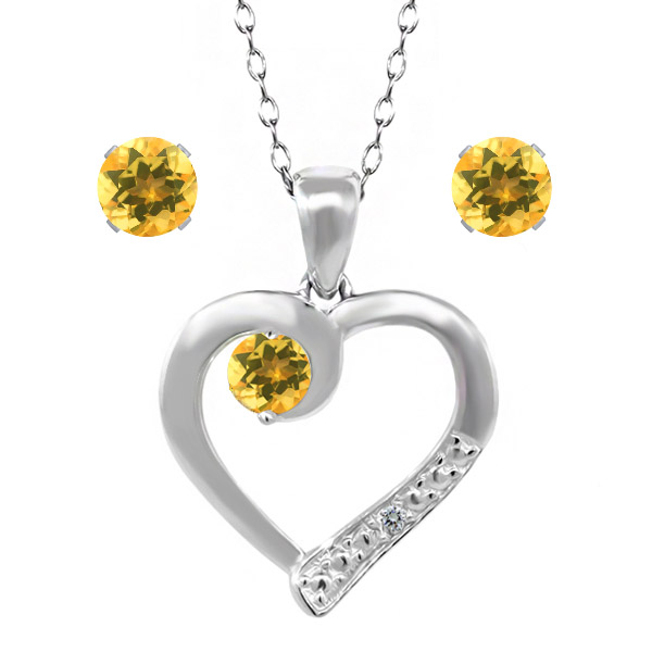 """1.68 Ct Citrine and Accent Diamond 925 Sterling Silver Pendant Earrings Set 18"""""""