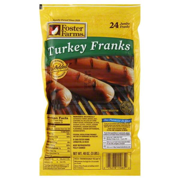 Foster Farms Turkey Franks, 40 Oz., 24 Count
