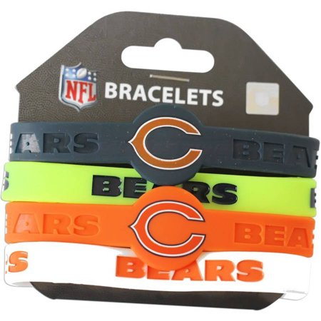 Chicago Bears Rubber Bracelet - Chicago Bears Silicone Rubber Bracelet Set