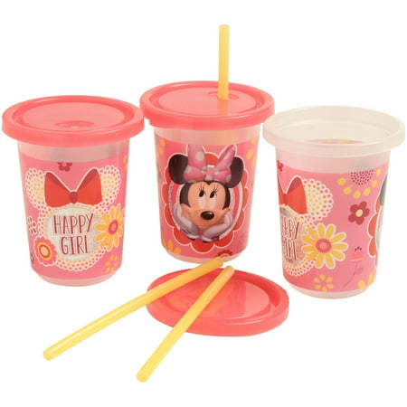 Disney Minnie Mouse Clubhouse Reusable Straw Cups, 3 Piece