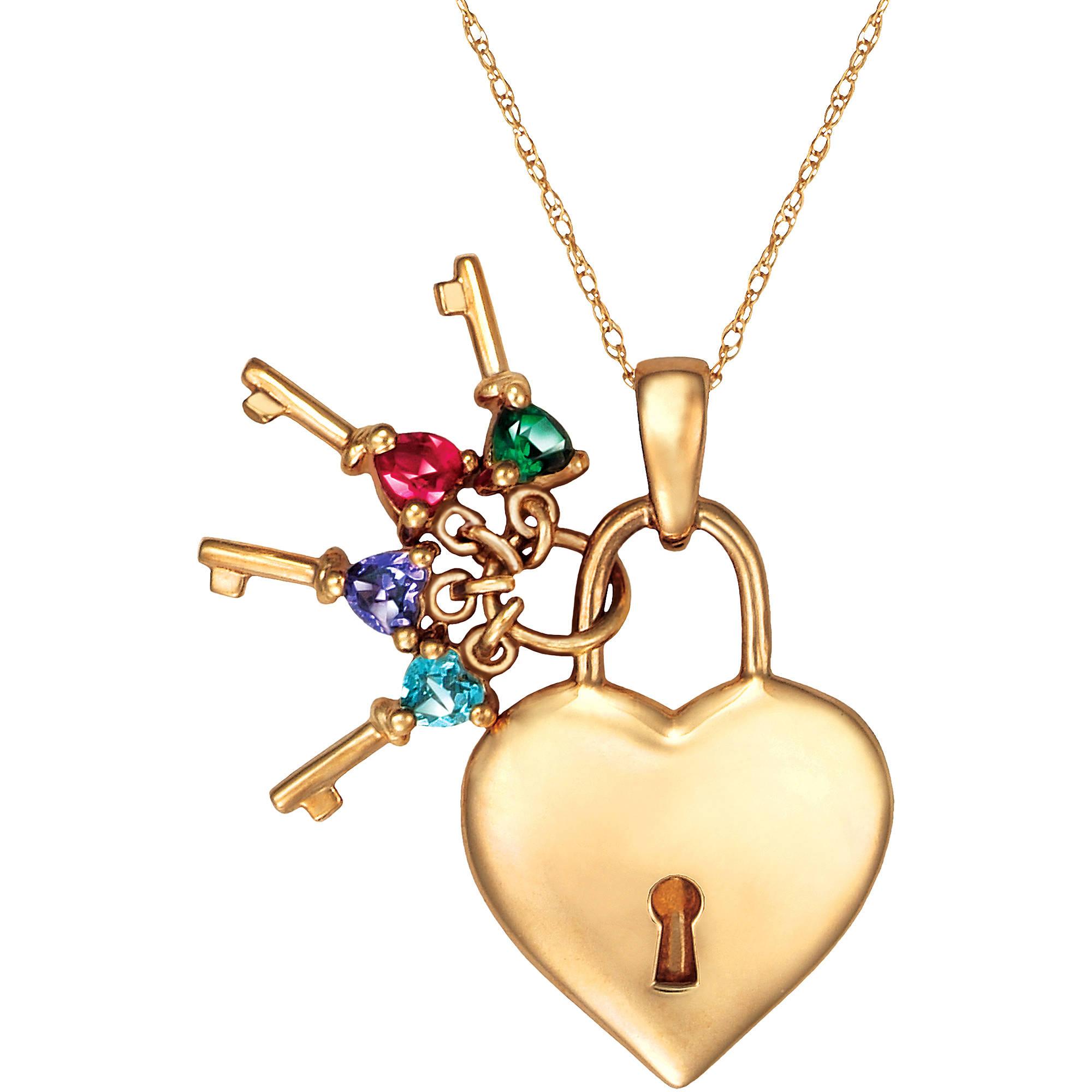Keepsake Personalized Keys to Her Heart Birthstone Pendant
