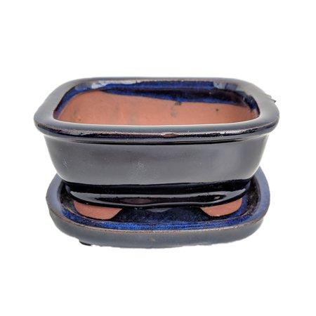 Small Ceramic Bonsai Pot plus Saucer- NavyRoundedRect -4
