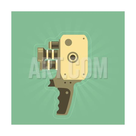 Retro Film (Video) Camera with Handle Print Wall Art By AnnSunnyDay