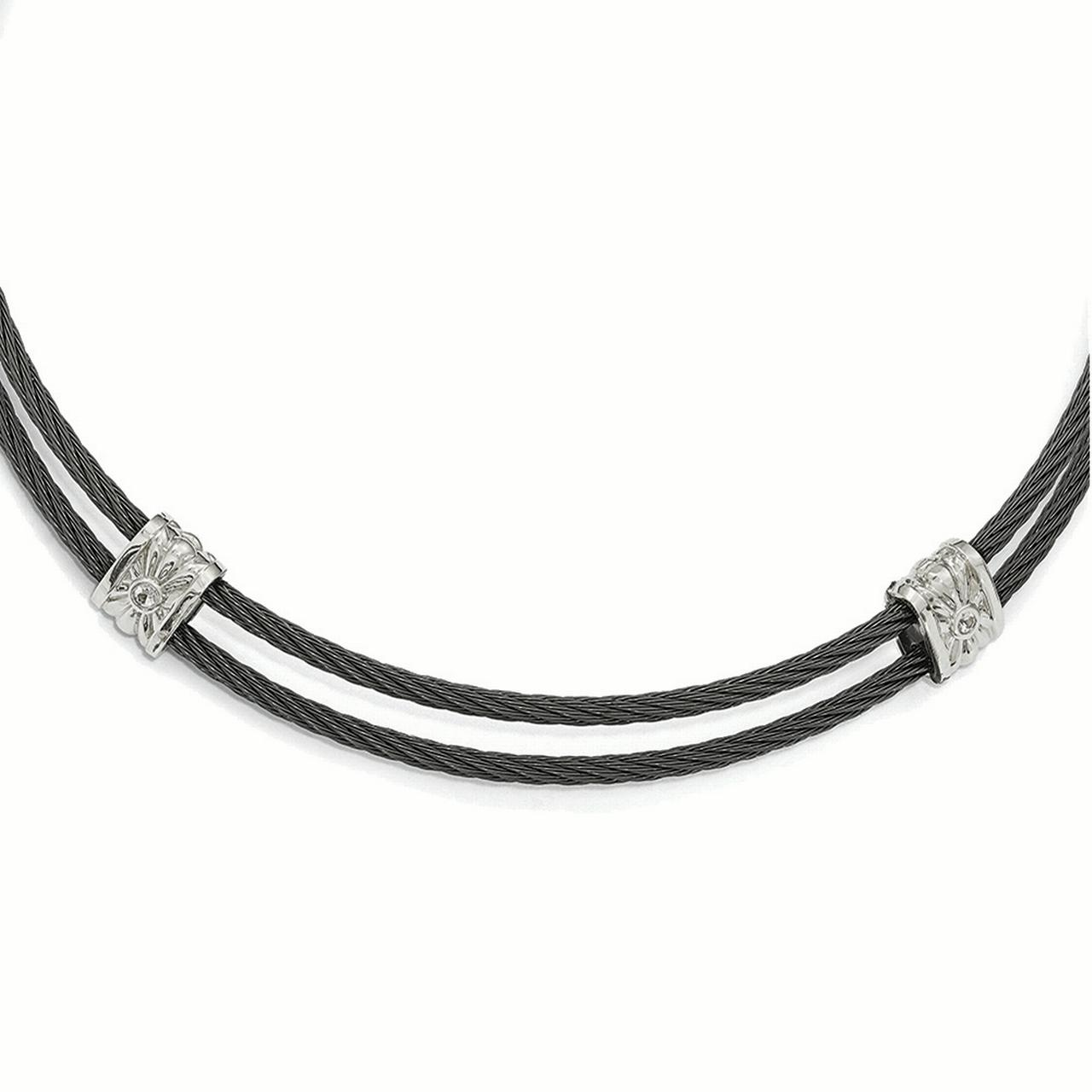 Lex & Lu Edward Mirell Titanium & Sterling Silver White Sapphire Cable Necklace by