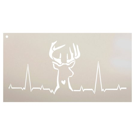 Deer Hunting Heartbeat Stencil by StudioR12 | Reusable Mylar Template | Fall Hunter Style - Use to Paint Wood Signs - Wall Art - Pallets - T-Shirts - DIY Home Decor - Select Size (16