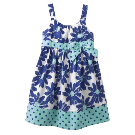 Girls Sun Dress (Little Girls Blue Floral Polka Dot Sun Dress Cotton)
