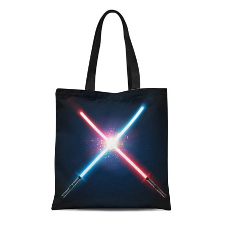 JSDART Canvas Tote Bag Two Crossed Light Swords Fight Blue and Red Crossing Reusable Shoulder Grocery Shopping Bags Handbag - image 1 de 1