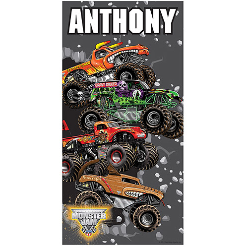 Personalized Monster Jam Breaking Through Beach Towel