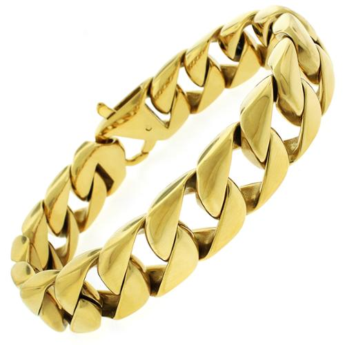 REL International Yellow Goldplated Stainless Steel Men's Cuban Bracelet