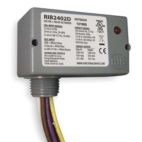 FUNCTIONAL DEVICES INC / RIB RIB2402D Enclosed Pre-Wired Relay, DPDT, 10A@30VDC