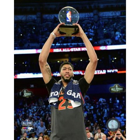 Anthony Davis with the 2017 NBA All-Star Game MVP Trophy Photo Print - All Star Trophy