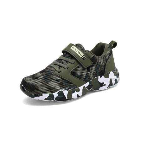 Camouflage Sports Shoes for Boys Hook and Loop Kids Mesh Running Shoes Comfortable Lightweight Outdoor Sneakers Slip-On Rubber Sole