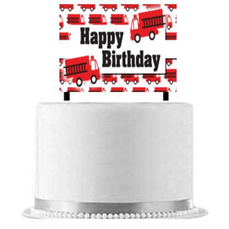 Fire Truck Cake Decoration Banner - Fire Truck Cake
