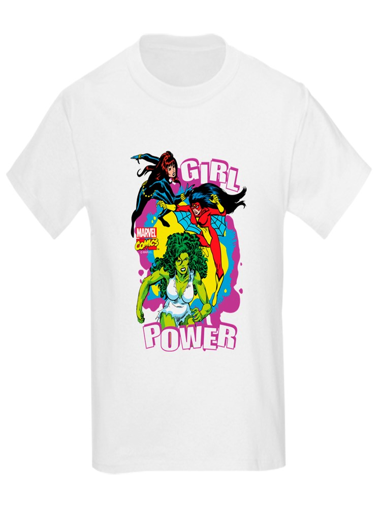 CafePress - Marvel Comics Girl Power - Kids Light T-Shirt