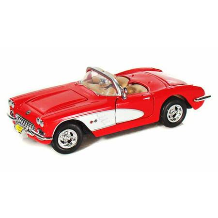 Chevy Corvette A/c - 1959 Chevy Corvette Convertible, Red - Motormax 73216 - 1/24 scale Diecast Model Toy Car