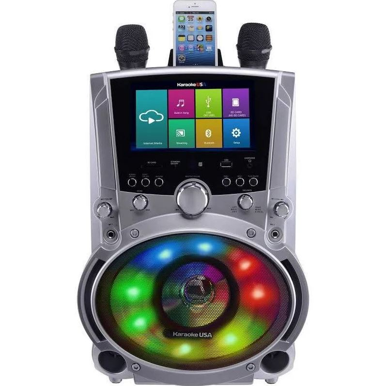 "Karaoke USA WK760 All-In-One Wi-Fi Multimedia Karaoke System With 7"" LCD Touch Screen, Recording and Bluetooth Speaker"