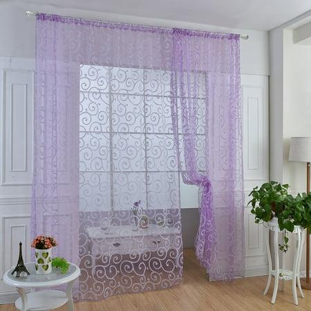 Vintage Floral Tulle Voile Door Window Decoration Drape Panel Sheer Curtain Valances