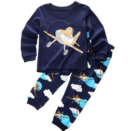 T-shirt Pj Set (Kids Baby Boys Planes T-shirt Top+Pant Pajamas Set Sleepwear Outfit Clothes)