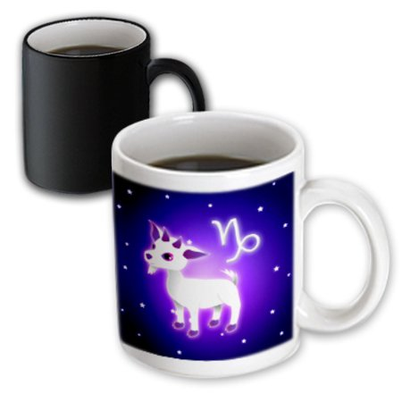 3dRose Cute Astrology Capricorn Zodiac Sign Goat, Magic Transforming Mug, 11oz Capricorn Zodiac Mug