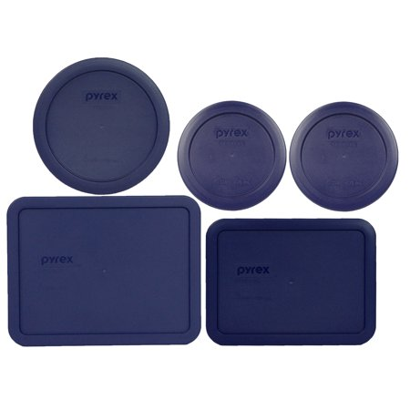 Pyrex Replacement Lids (2) 7200-PC 2 Cup, (1) 7201-PC 4 Cup, (1) 7210-PC 3, and (1) 7211-PC 6 Cup Dark Blue Plastic Covers for Pyrex Simply Store Dish Set (Sold Separately) Carry Out Tray 4 Cup