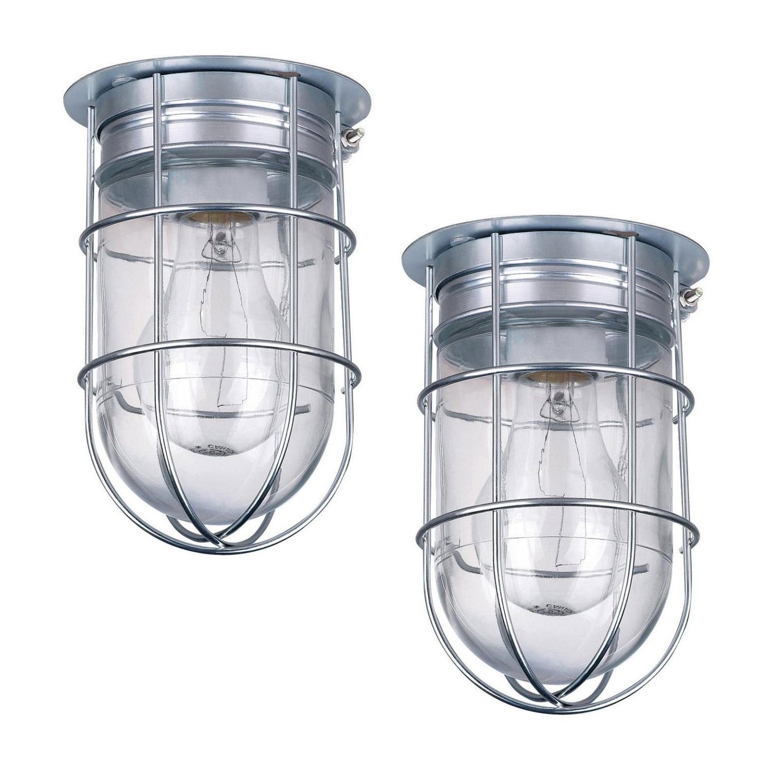 2 Pack of Outdoor Caged Lights Barn Ceiling Exterior Wall All Weather with Cage