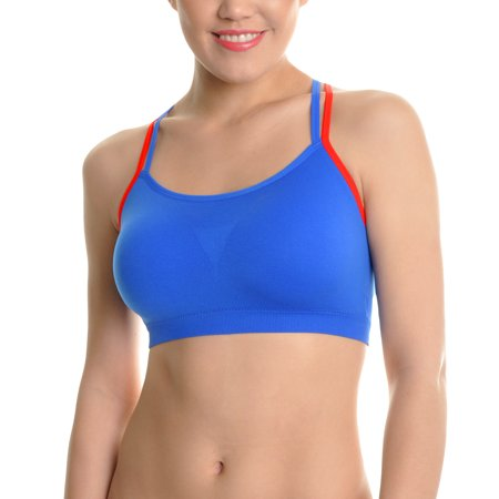 2bf5a60d07efb Angelina - Angelina 6-Pack Strappy Racerback Seamless Bras with Two-Tone  Strap - Walmart.com