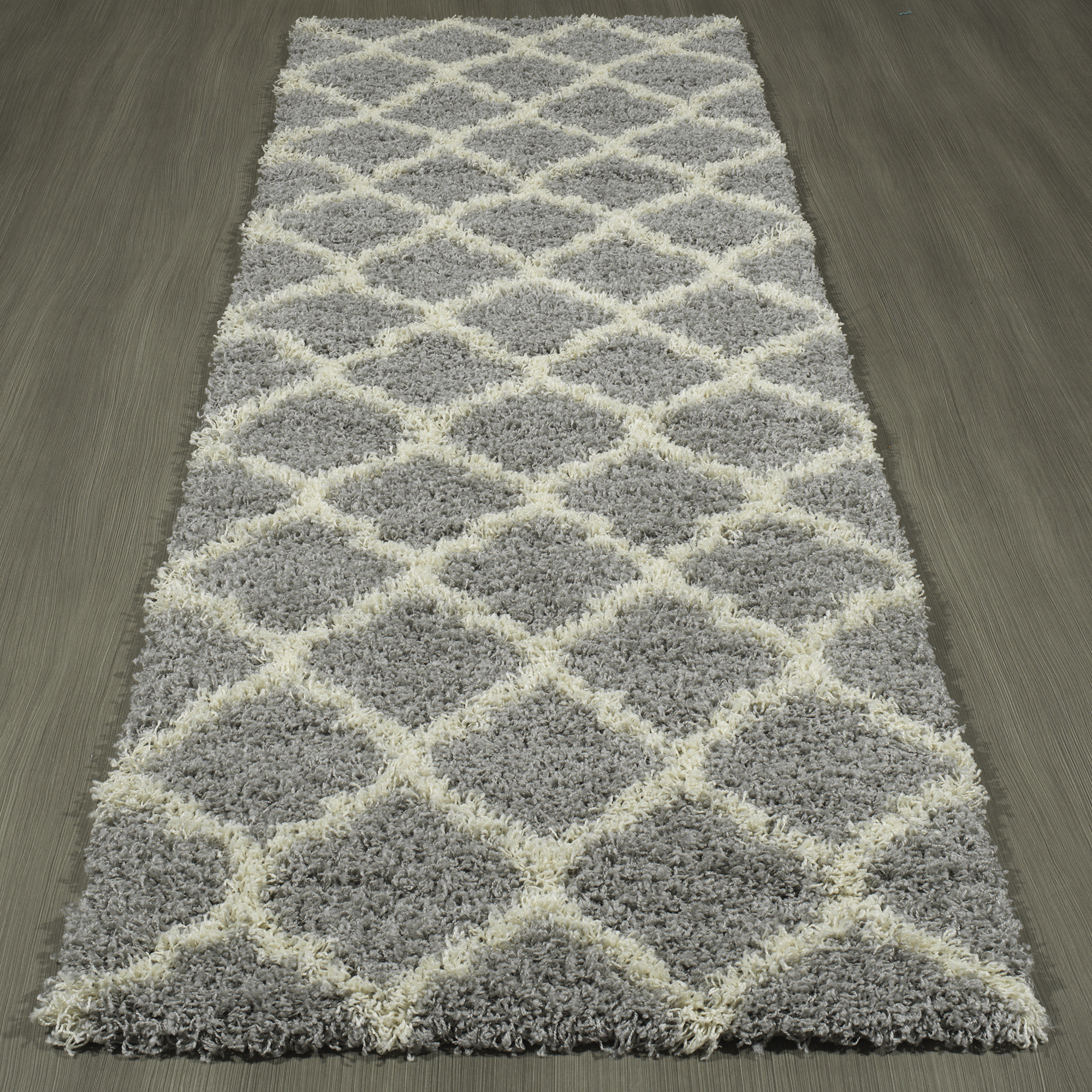 ottomanson soft trellis shaggy contemporary plush shag runner rug
