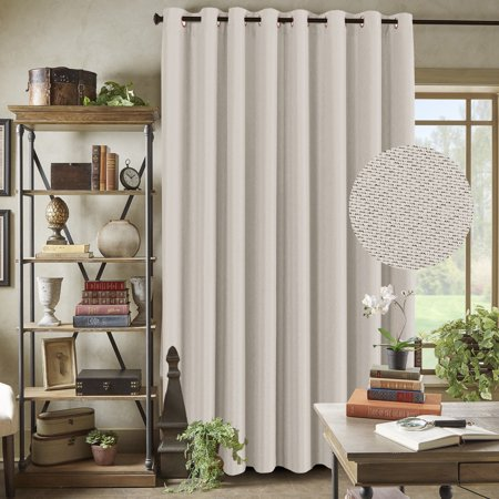 H Versailtex Wide Blackout Room Darkening Rich Quality Of Textured Linen Patio Door Curtains Home Fashion Window Panel D With 16 Grommets Ivory 100