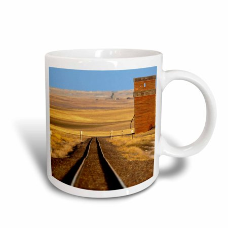 3dRose Train tracks, old granary at Collins, Montana - US27 CHA1736 - Chuck Haney, Ceramic Mug, 15-ounce