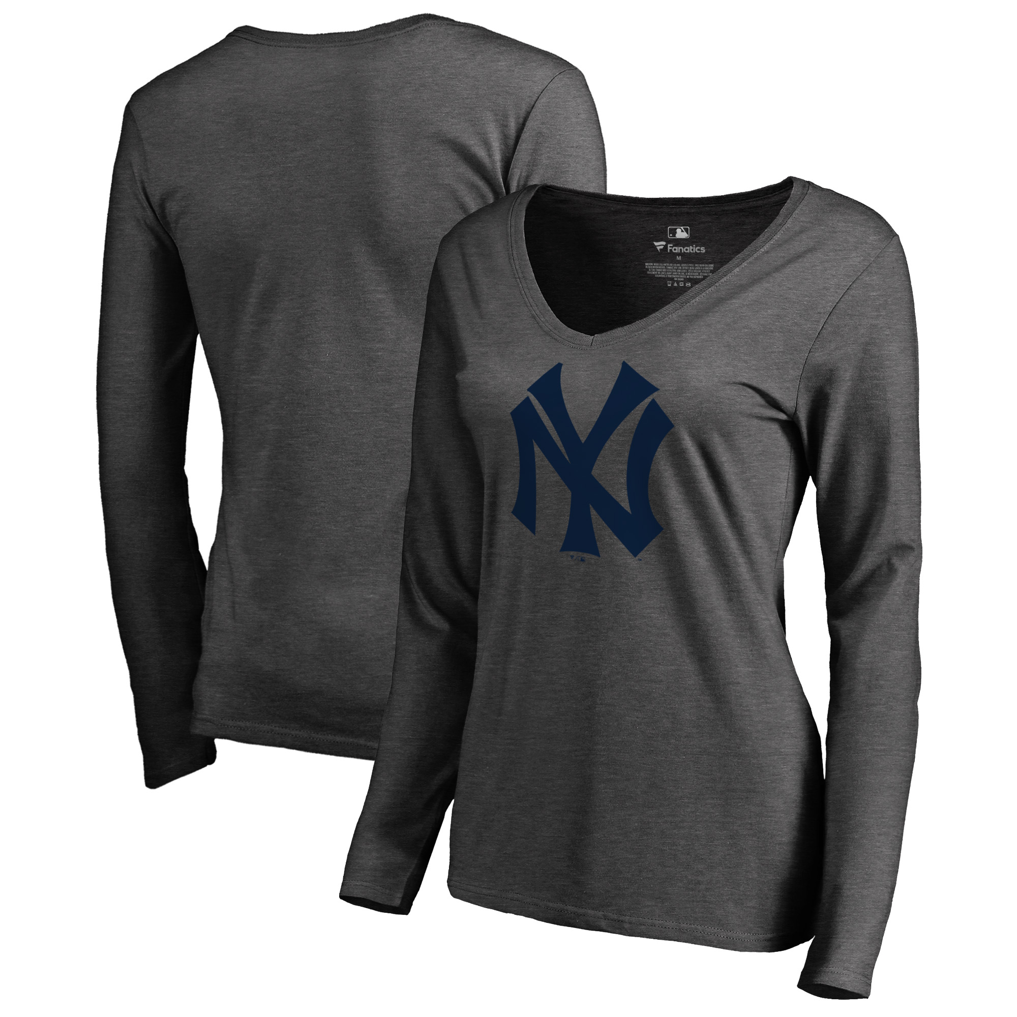 New York Yankees Fanatics Branded Women's Cooperstown Collection Huntington Long Sleeve V-Neck T-Shirt - Heathered Gray
