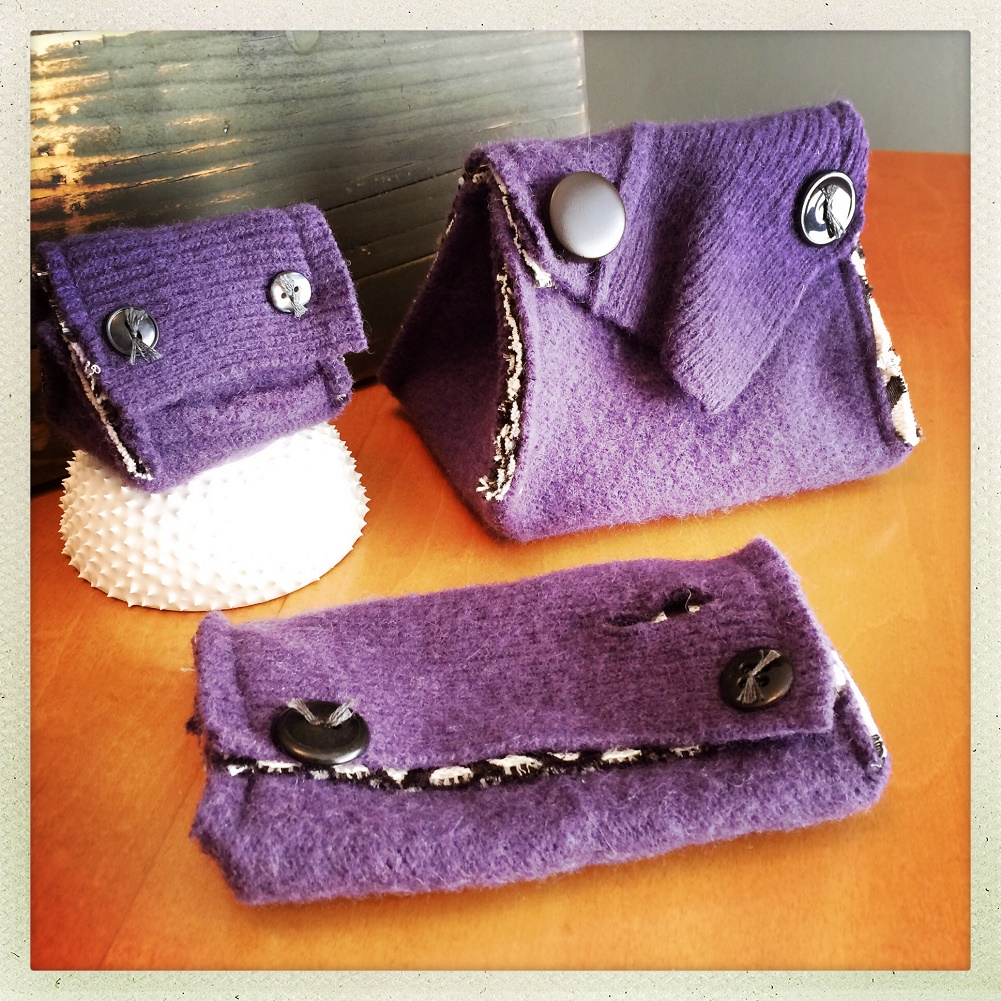 Little Monster Knitting Accessory Pouches Set of Three-Purple Geometric