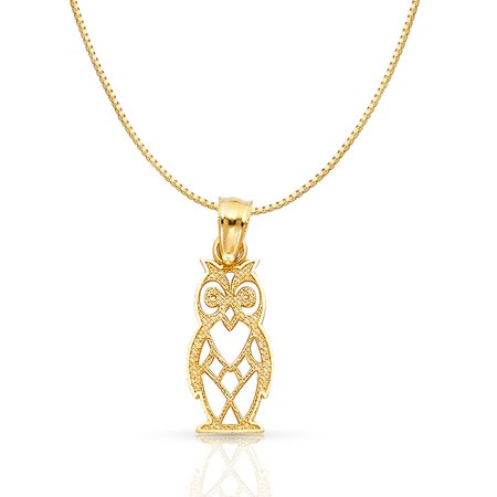 14K Yellow Solid Gold Owl Charm Pendant with 0.8mm Box Chain Necklace - 24""