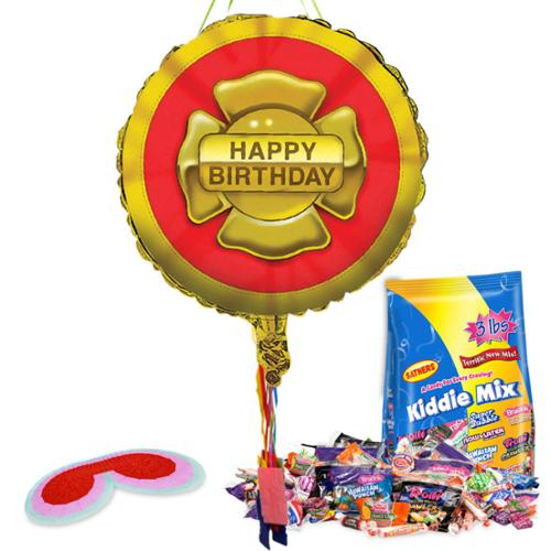 Firefighter Birthday Pull String Pinata Kit - Party Supplies