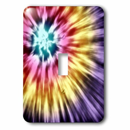 3dRose Tie Dye Purple starburst tie dye design in purple yellow and red - Single Toggle Switch (lsp_18139_1) - Starburst Reds