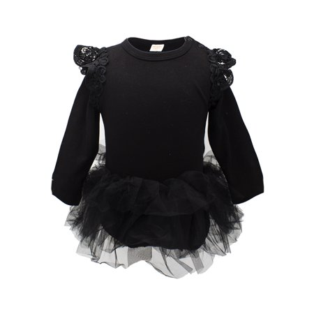 Bilo Baby Girl Long Sleeve Ruffle Cotton Romper with Tulle Tutu Skirt (80/6-12 Months) (Stores That Sell Tutus)