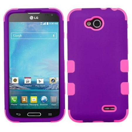 Insten Grape/Electric Pink New TUFF Hybrid Hard Cover Skin Case For LG D415 Optimus