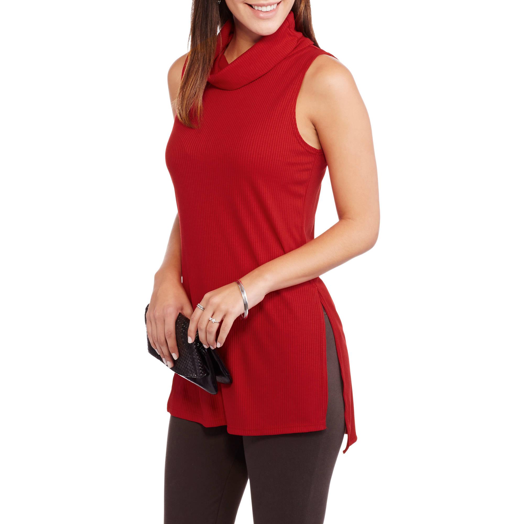 9th Street Apparel Women's Solid Sleeveless Mock Neck Top