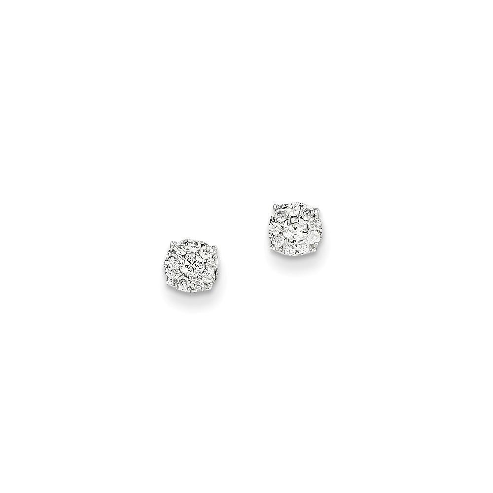 14K White Gold Diamond Earrings. Carat Wt- 0.25ct (5MM)