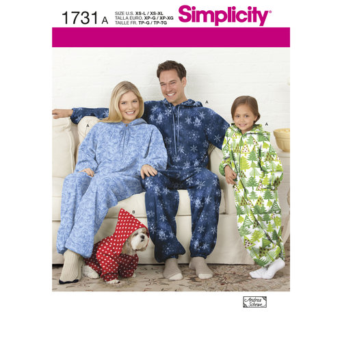 Simplicity Children's, Teens' and Adults Fleece Jumpsuit (XS-L/XS-XL)